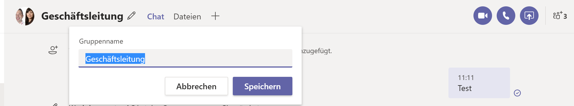 Teams Gruppenchat Name