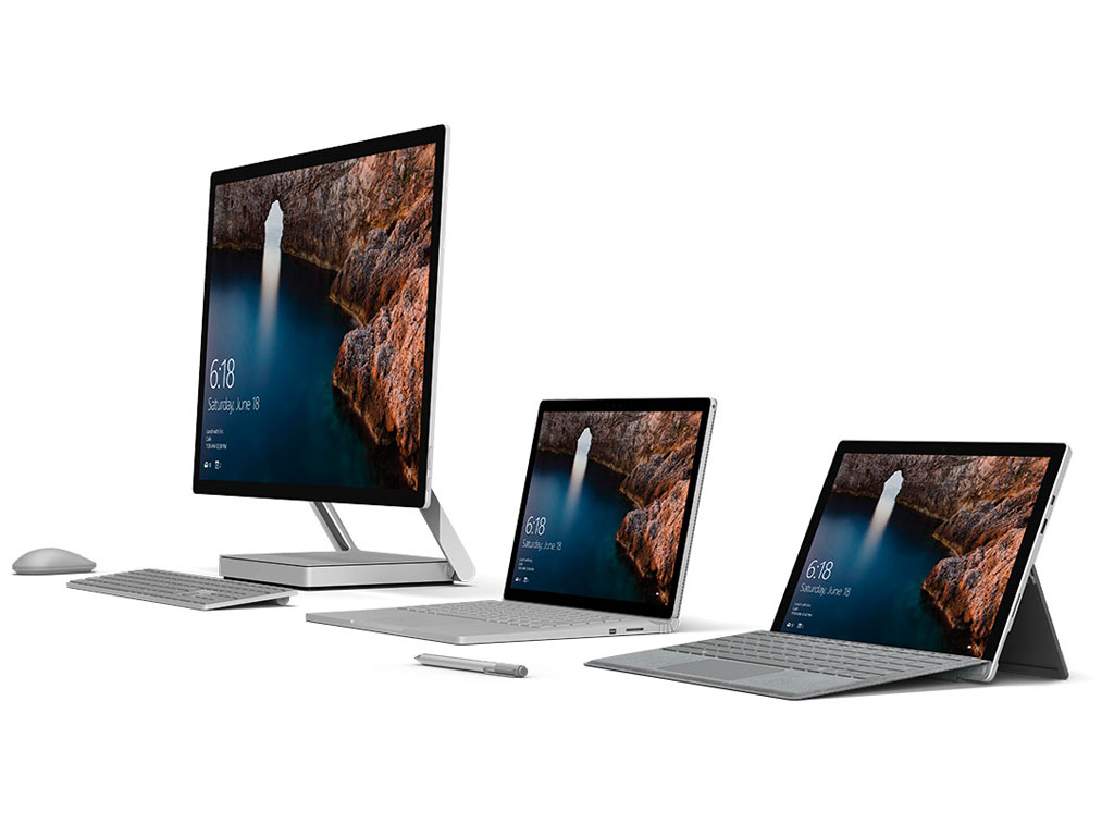 Microsoft Surface Studio, Surface Pro und Surface Book