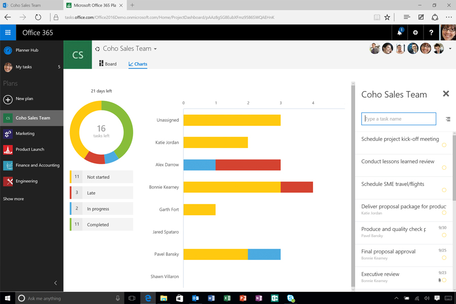 office 365 planner chart