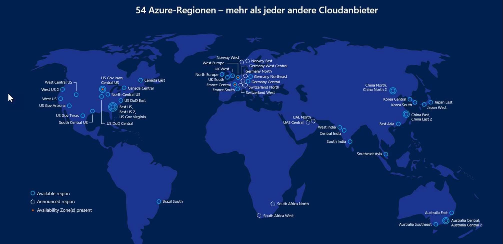 Standorte Microsoft Azure Cloud Server