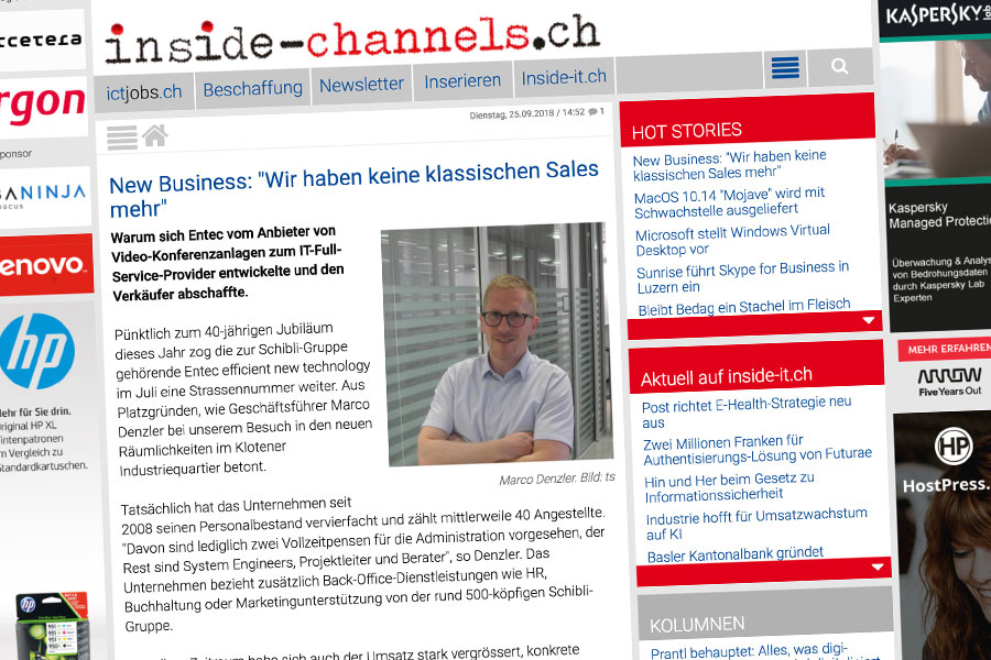 entec: Bericht auf inside-channels.ch
